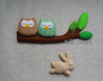 Owl Baby Mobile, Woodland Owl Nursery Mobile, Woodland  Mobile, Forest mobile, Baby mobile owl, Branch mobile, Woodland felt animals Decor