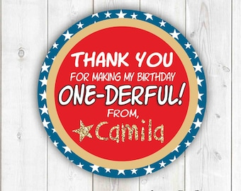 Wonder Woman thank you gift tags, ONEder Woman first birthday party tags, Wonder Woman party favor tags