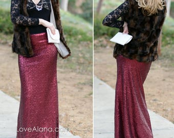 Matte Wine Maxi Sequin Skirt - Gorgeous high quality sequins (S,M,L,XL)