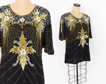 80s Sequin Blouse | Black Gold Floral Beaded Sequin Top Shirt Blouse | Medium