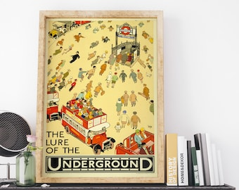 The Lure Of The Underground by Alfred Lette Vintage UK Travel Art Poster Print