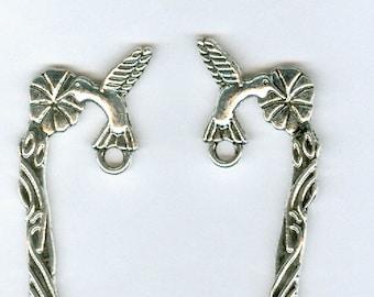 Set 4 5in Silver Hummingbird Bookmark Zines flower book Marker Finding