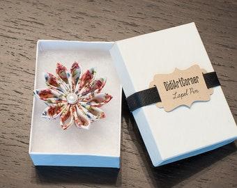 Kanzashi Clematis Flower Lapel Pin