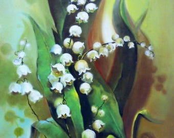 Lily of the valley flower oil painting PRINT, printable art