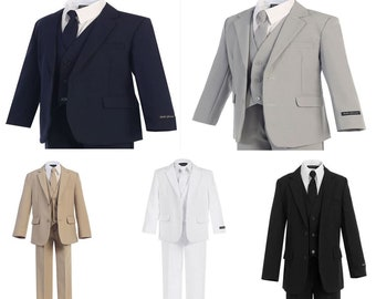 New Boys 5 Piece Suits, - Light Gray (Grey), Black, White, Navy Blue, or Khaki - Wedding, Ring Bearer, Communion, Formal, Recital, Baptism