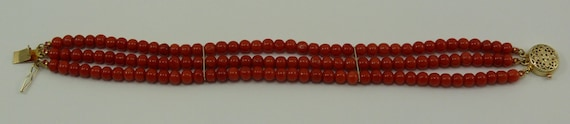 Italian Coral Triple Strand Bracelet with 14k Yellow Gold Clasp and Bars
