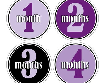 12 Monthly Baby Milestone Waterproof Glossy Stickers - Just Born - Newborn - Weekly stickers available - Design M021-04