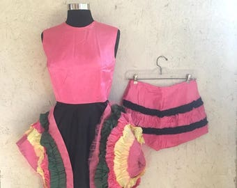 Vintage 50s Pink Ruffled Can Can Dress with Matching Tap Pants Full Circle Dress Costume XS-S
