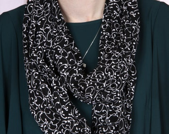 Black Infinity Scarf with White Pattern