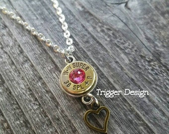 38 Special Brass Bullet Necklace with Heart Charm -Light Pink