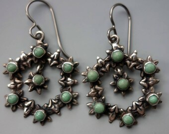 Cuernavaca Mexico Turquoise Sterling Wreath Earrings