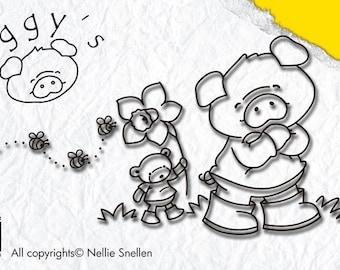 Stamp clear Nellie Snellen, piggy, PIGGY Collection's, Scrapbooking, Cardmaking, crafting