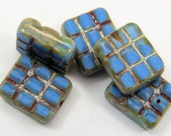 Czech Denim Blue Grated Rectangle Beads Opaque Silver Glazed Azure Glass Table Cut 13 x 15MM 6 Beads  PTCGT002