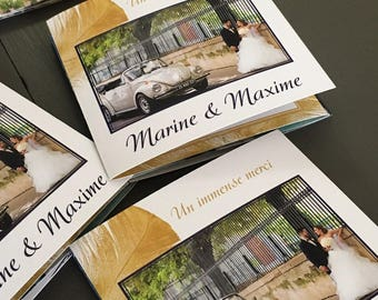 Wedding thank you card feather chic theme, brochure with pictures