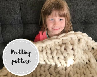 Giant knit blanket PDF pattern
