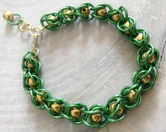Gold and Green Chainmail Caged Bead Bracelet