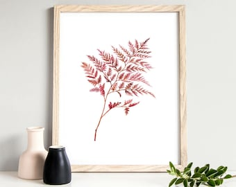 Minimalist Fern Leaf Wall Art Rustic Home Decor Instant Download Watercolors Plant Print Fern Botanical Print Nature Lover Printable Art
