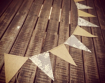 Rustic Hessian & Lace Bunting Banner Vintage Wedding Barn Country Baby Shower Birthday Engagement Party Market Stall Reception