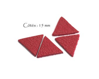 Genuine Leather Triangles - Equilateral Triangle - Sides: 15 mm - Goat Leather - Lot Color Red Dark (6pcs)