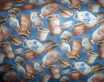 pottery in blue by windham fabrics