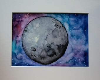 Full Moon - watercolor and ink painting