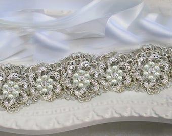 Bridal Belt Wedding Sash Bridal dress belt wedding dress Bridal sash Silver Pearl Crystal, White Ribbon or Ivory Ribbon