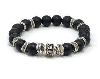 Gemstone Bracelet, Men's Bracelet, Black Onyx and Sterling Silver, Men's Beaded Bracelet, Onyx Bracelet, Black Stone Bracelet