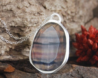 Fluorite Gemstone Necklace, Sterling Silver Pendant, Statement Necklace, Silver Gemstone Pendant, Oval Pendant, Coloured Gemstone Necklace
