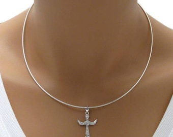 """925 Sterling Silver Round Omega Chain Necklace - 1.2 mm - 16""""/18"""""""