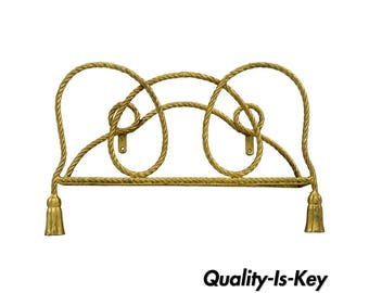 Vintage Italian Hollywood Regency Gold Rope Tassel Magazine Rack Wall Mount Iron B