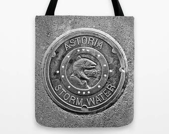 Astoria Storm Water Tote Bag, urban art, Oregon coast, yoga bag, beach bag, grocery bag, reusable, salmon, fish, fishing