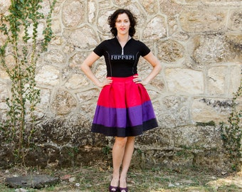 Linen Colorblock Skirt, Knee Color Block Full Skirt, with Pockets Custom Colors Plus Sizes available