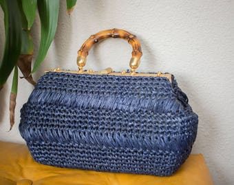 Vintage Purse with bamboo handle