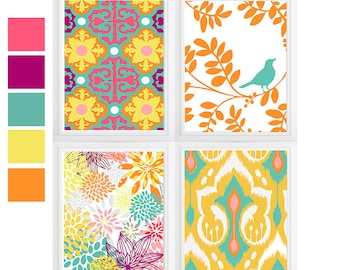 Moroccan Ikat Orange Turquoise  Pink Floral wall art- Set of 4 Choose size! Modern gallery prints-Made in USA