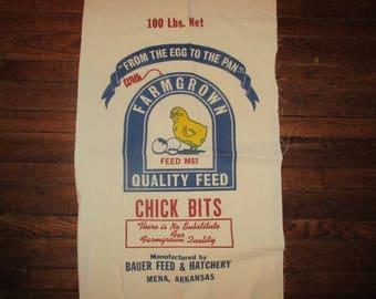 Feed Sack, Flour sack fabric, Feed Sack Fabric, Chick Feed Sack, Grain sack, sewing supplies, Craft fabric, home decor fabric, fabric