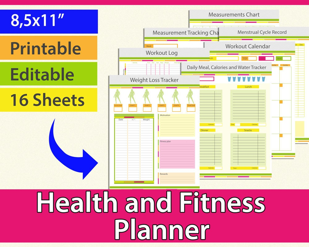 Fitness planner workout planner weight loss journal weight zoom nvjuhfo Choice Image