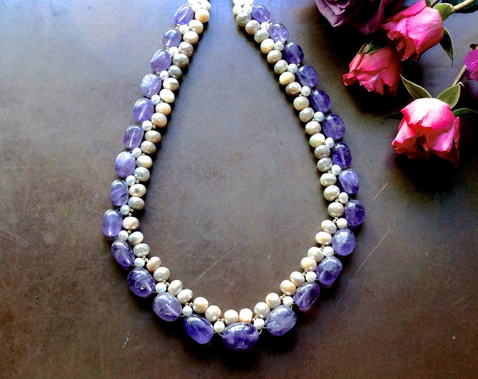 Chunky gemstone necklace - amethyst and freshwater pearl necklace