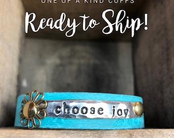 Ready to Ship Cuff - choose joy skinny  - Love Squared Designs