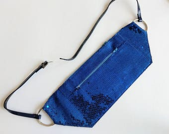 festival fanny pack - blue sequined convertible hip bag / clutch / cross body bag - with silver tone chain belt