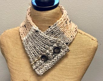 Hand Knitted Buttoned Neck Warmer in Caron Sprinkle Cakes Pecan Fudge Item# KNW116173 ***FREE SHIPPING***