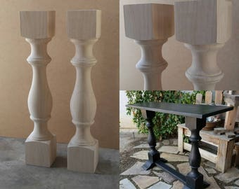 Unfinished farmhouse dining table legs wood legs turned pair unfinished monastery console table legs set of 2 turned posts watchthetrailerfo