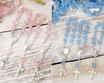 24 Heart Mini Rosary Favors Baptism Favors - Mini Rosaries - Finger Rosaries - Rosaries Bautizo Comunion Christening Rosario Recuerdos
