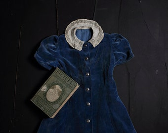 Pictures Every Child Should Know FREE SHIPPING Still life photo print Girls vintage blue velvet dress Dark Book Lace collar Black Shadows