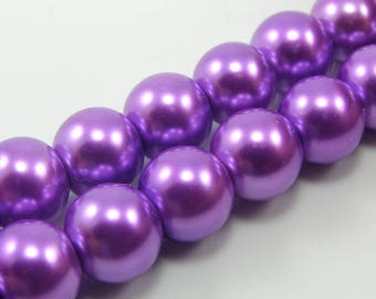 Set of 5 10 mm mother of pearl purple glass beads