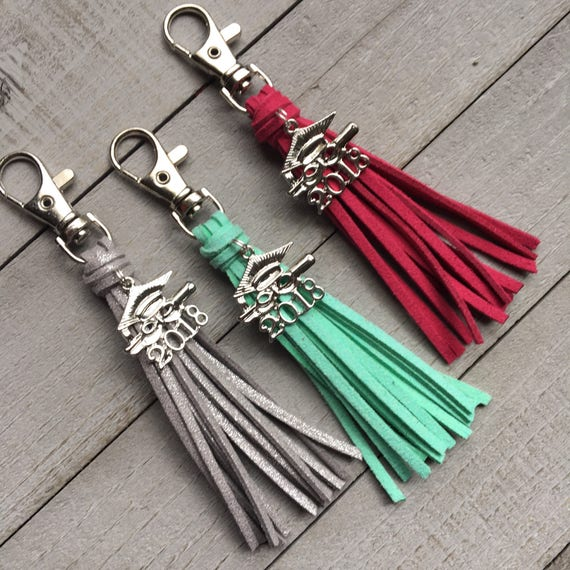 Graduation Gift 2018 Grad Gift - Choose Your Color Mini Tassel with Cap and Gown Charm Keychain or Bag Charm