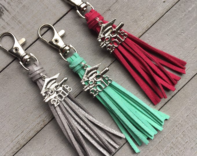 Featured listing image: Graduation Gift 2018 Grad Gift - Choose Your Color Mini Tassel with Cap and Gown Charm Keychain or Bag Charm