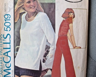 Cinnamon 1970's McCall's 5019 Vintage Sewing Pattern Misses' Scoop Neck Top and Pants or Shorts with Patch Pocket Size 8 Bust 31.5
