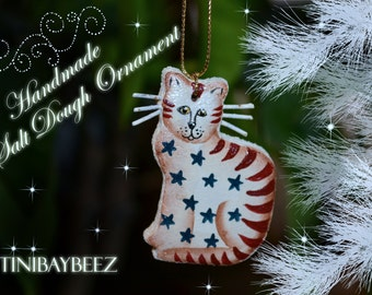 Americana Cat Cinnamon Salt Dough Ornament