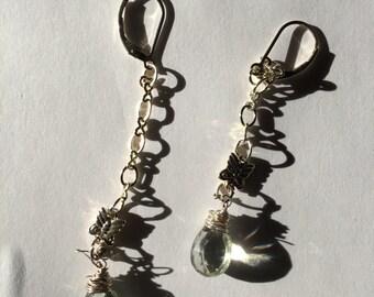 Sterling Silver Butterfly JEWELRY,Dangle earrings, Green amethyst, Casual, BRIDAL,
