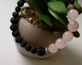 Rose Quartz Lava Bead Diffuser Bracelet